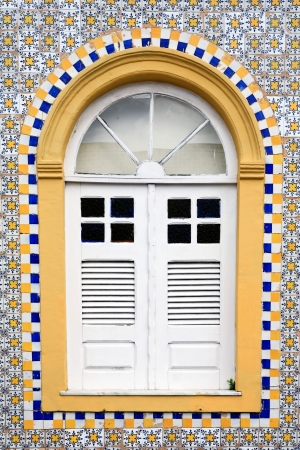 th: window house of the historic center of the city of sao luis of maranhao in brazil