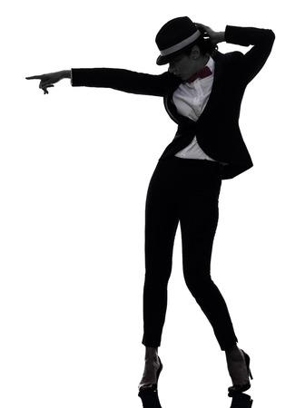 bailarines silueta: un cauc�sico mujer bailando bailar�n en silueta sobre fondo blanco Foto de archivo