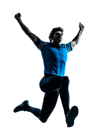 one caucasian man  running sprinting jogging shouting  in silhouette studio isolated on white background photo