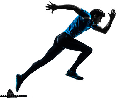 man side view: one caucasian man  running sprinting jogging in silhouette studio isolated on white background
