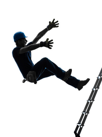 falling: one  manual worker man falling from  ladder  in silhouette on white background