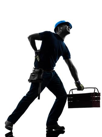 lesionado: Un manual worker man dolor de espalda en la silueta en el fondo blanco