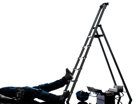 step ladder: one  manual worker man accident falling from  ladder   in silhouette on white background