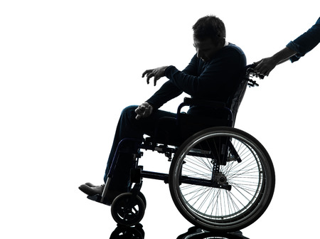 one handicapped disabled man in silhouette studio  on white background photo