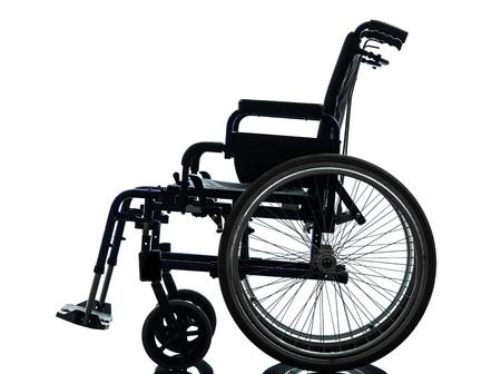 one  wheelchair in silhouette studio  on white background photo