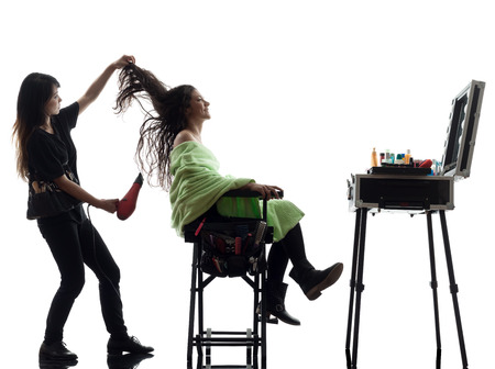 woman and hairdresser  in silhouette  on white background Stock Photo - 22399762