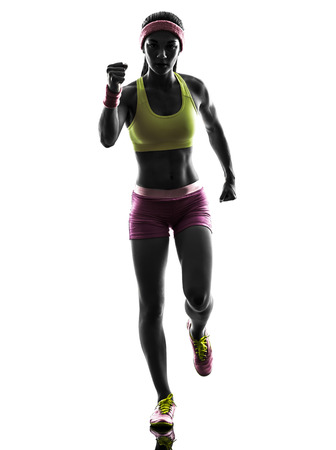 one caucasian woman runner running  in silhouette on white background photo