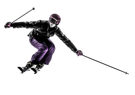 cut the competition: one caucasian woman skier skiing slaloming in silhouette on white background