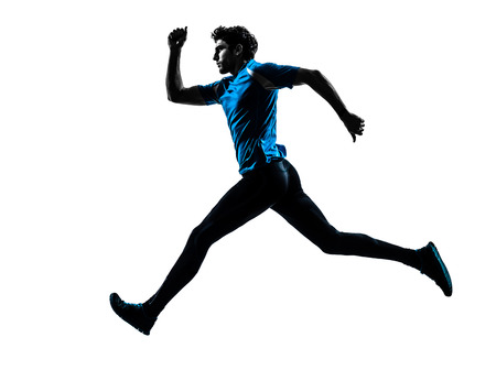 cut the competition: one caucasian man  running sprinting jogging in silhouette studio isolated on white background