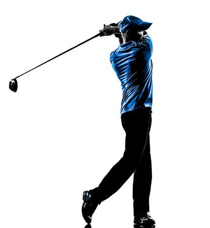 een man van het golfspeler swing in silhouet studio geïsoleerd op witte achtergrond Stockfoto