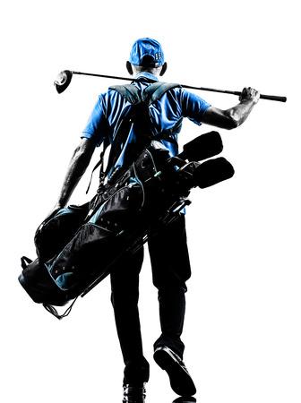 흰색 배경에 고립 된 실루엣 스튜디오에서 한 남자 골퍼 골프 골프 가방 산책