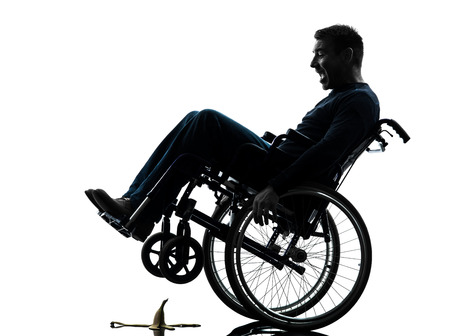 one fearless handicapped man in silhouette studio  on white background photo