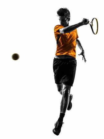 tenis: uno del tenis hombre en silueta sobre fondo blanco Foto de archivo