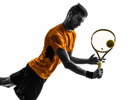male tennis players: one man tennis player portrait  in silhouette on white background