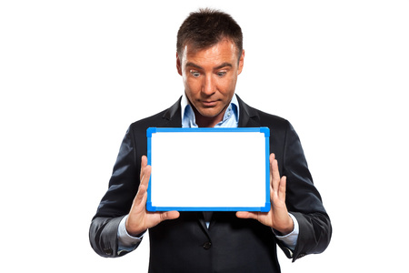 one caucasian business man holding showing whiteboard in studio isolated on white background photo