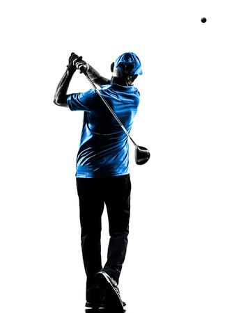 personnes de dos: un homme golfeur swing de golf en studio silhouette isol� sur fond blanc