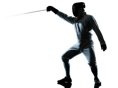 saber: one man fencing silhouette in studio isolated on white background
