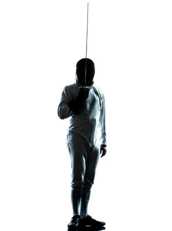 saber: one man fencing saluting silhouette in studio isolated on white background