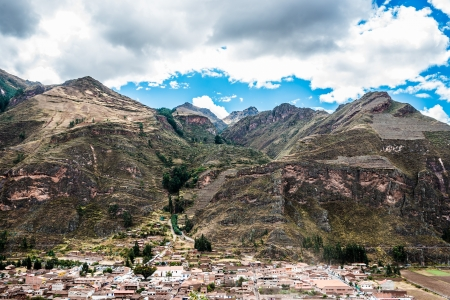 sacred valley of the incas: Pisac, Incas ruins in the peruvian Andes at Cuzco Peru South America Stock Photo