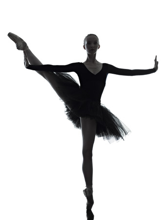 classic woman: one caucasian young woman ballerina ballet dancer dancing with tutu in silhouette studio on white background