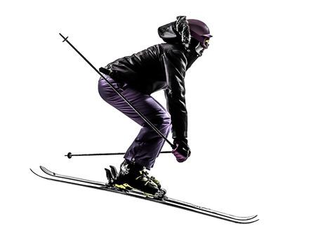 흰색 배경에 실루엣으로 점프 한 백인 여자 스키어 스키 스톡 콘텐츠