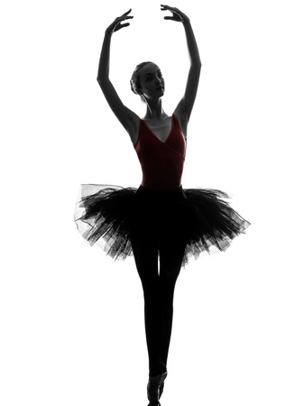 ballerina silhouette: one caucasian young woman ballerina ballet dancer dancing with tutu in silhouette studio on white background