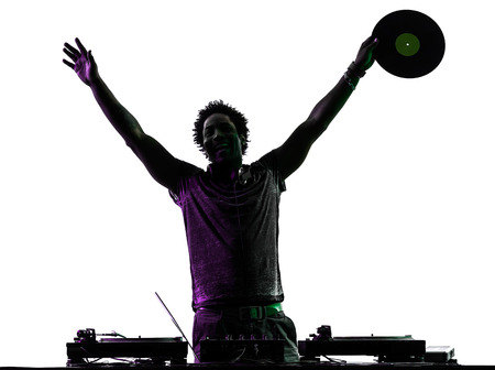 one disc jockey man happy joy arms raised in silhouette  on white background photo