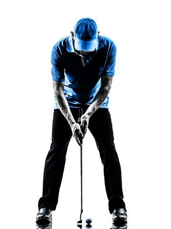 one man golfer golfing in silhouette studio isolated on white background Stock fotó