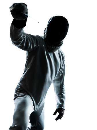 one man: one man fencing silhouette in studio isolated on white background