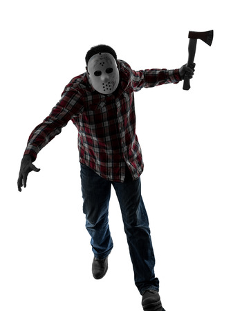 one caucasian man serial killer with mask full length in silhouette studio isolated on white background