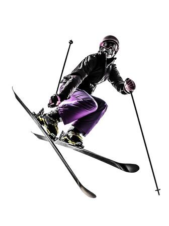 흰색 배경에 실루엣 한 백인 여자 스키어의 프리 스타일러 점프 스톡 콘텐츠