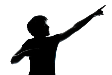 one caucasian young teenager silhouette boy or girl portrait in studio cut out isolated on white background photo