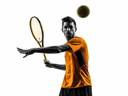 een man tennisser portret in silhouet op een witte achtergrond