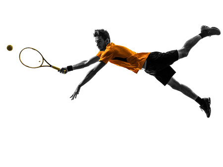 one  man tennis player in silhouette on white background photo