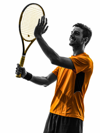 one man: one man tennis player portrait  applauding in silhouette on white background