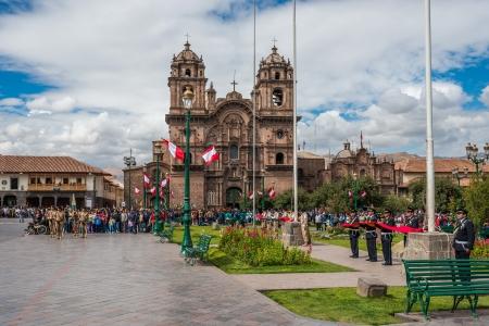 plaza de armas: Cuzco, Peru - July 14, 2013: army parade in the Plaza de Armas at Cuzco Peru on july 14th, 2013