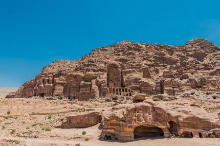 nabatean: Petra, Jordan - May 10, 2013: tourists visiting Royal tombs in nabatean petra jordan middle east on may 10th, 2013