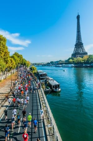 Paris, France - April  14 : marathon runners in waterfront at  Paris International Marathon on April 14 , 2006 in Paris, France
