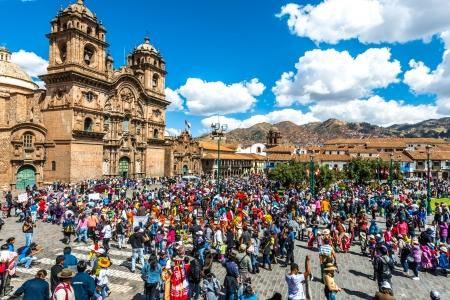 plaza de armas: Cuzco, Peru - July 12, 2013: people at festival  in the Plaza de Armas at Cuzco Peru on july 12th, 2013 Editorial