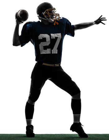 quarterback: one caucasian quarterback american throwing football player man in silhouette studio isolated on white background