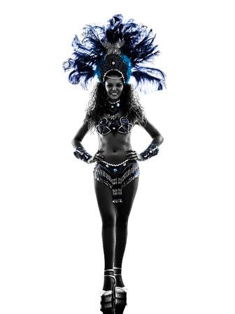 one caucasian woman samba dancer  dancing silhouette  on white background photo