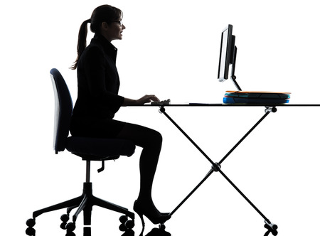 one business woman computer computing typing  silhouette studio isolated on white background Stock Photo - 22996960