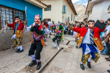 pisac: Pisac, Peru - July 16, 2013: dancer at Virgen del Carmen parade in the peruvian Andes at Pisac Peru on july 16th, 2013