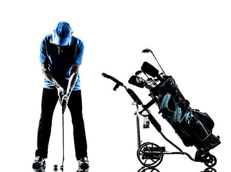 흰색 배경에 고립 된 실루엣 스튜디오에서 한 남자 골퍼 골프 골프 가방