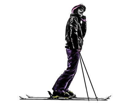 one caucasian woman skier skiing on the telephone in silhouette on white background photo
