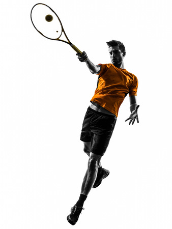 one man: one  man tennis player in silhouette on white background Stock Photo