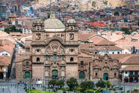 plaza de armas: aerial view of the Plaza de Armas of Cuzco city in the peruvian Andes Peru