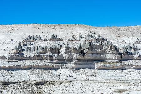 aguada: Volcanic rock forms in Aguada Blanca in the peruvian Andes at Arequipa Peru