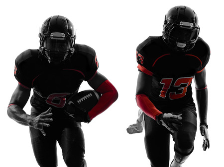 american football background: two american football players running in silhouette shadow on white background