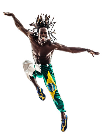 one brazilian  black man  dancer dancing jumping on white background photo
